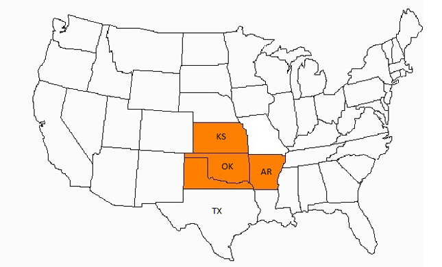 Map of U.S. with Oklahoma, Kansas, Arkansas, and North Texas highlighted.